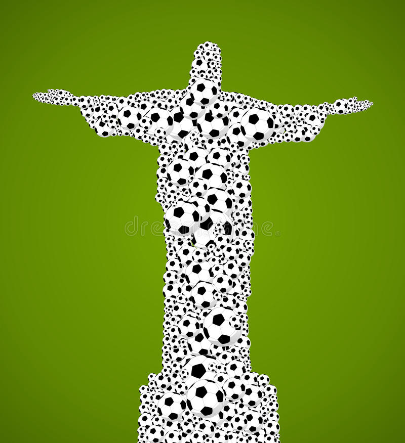 Brazil 2014 world soccer championship, jesus christ shape balls royalty free illustration