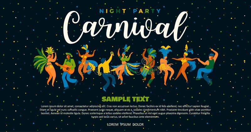 Brazilië Carnaval Vectorillustratie van grappige dansende mannen en vrouwen in heldere kostuums stock illustratie
