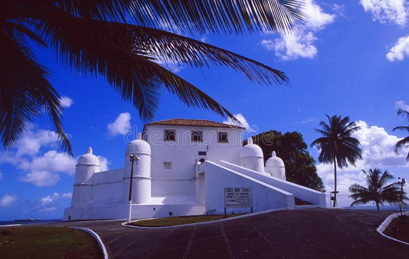 Brazilië: Het Nederlandse fort Mont Serrat in Salvador de Bahia royalty-vrije stock afbeelding