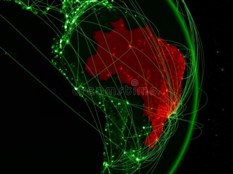 Brazilië op groene Aarde royalty-vrije stock foto's