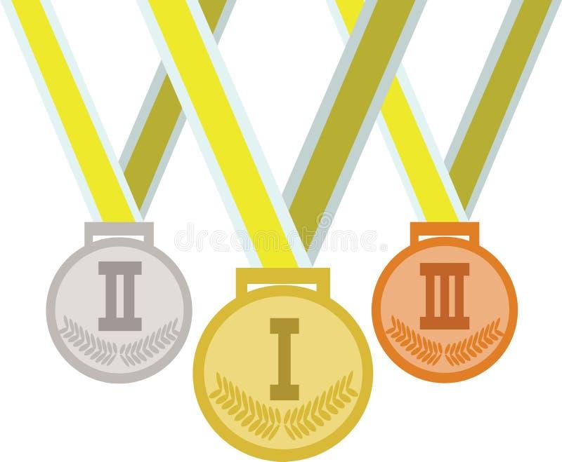 Brazilië, Rio 2016, gekleurde medailles royalty-vrije illustratie