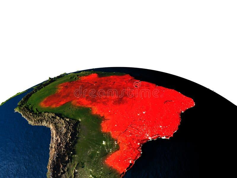 Brazilië van ruimte bij nacht stock illustratie