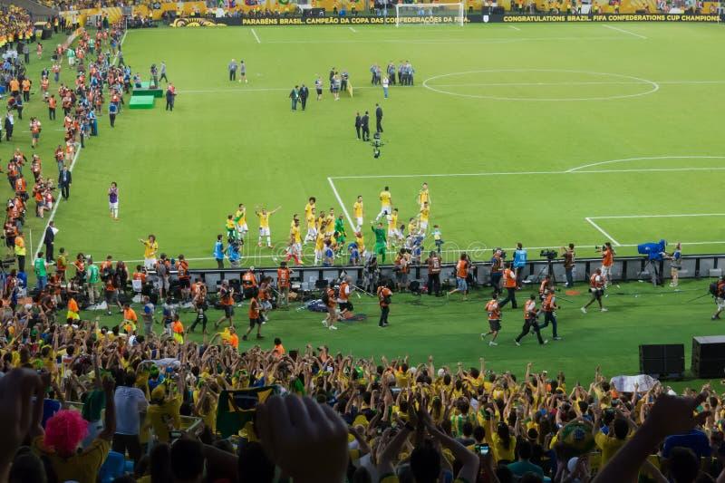 Brazilië versus de Federatieskop 2013 van Spanje - van FIFA royalty-vrije stock foto