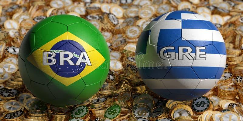 Brazilië versus Griekenland - Voetbal - Voetbal in Brazilië en Griekenland - nationale kleuren op een bed van gouden dollarmunten royalty-vrije illustratie