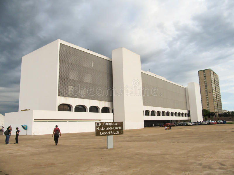 Brazilia国立图书馆的大厦,称Leonel Brizola 库存图片