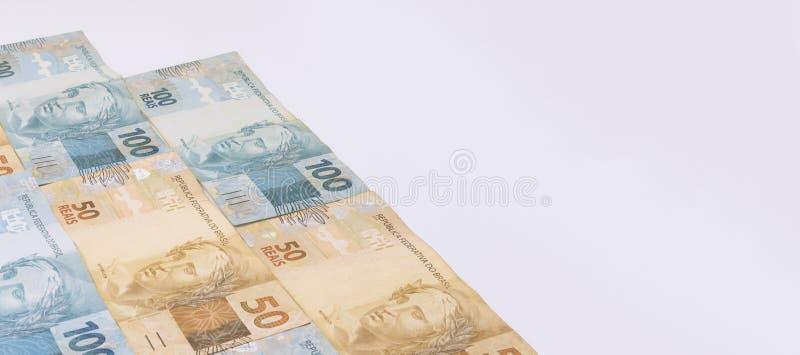 Braziliaans geld met lege ruimte Rekeningen genoemd Echte, verschillende waarden royalty-vrije stock foto