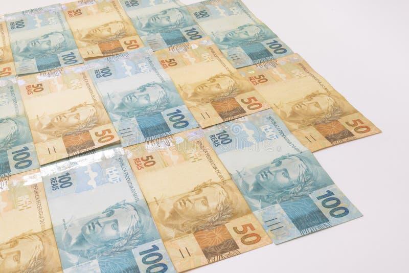 Braziliaans geld met lege ruimte Rekeningen genoemd Echte, verschillende waarden stock afbeelding