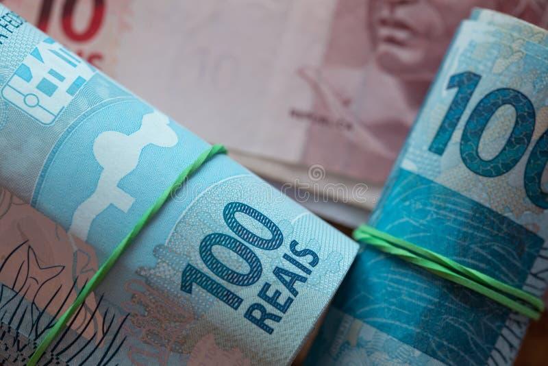 Braziliaans geld, reais royalty-vrije stock afbeeldingen