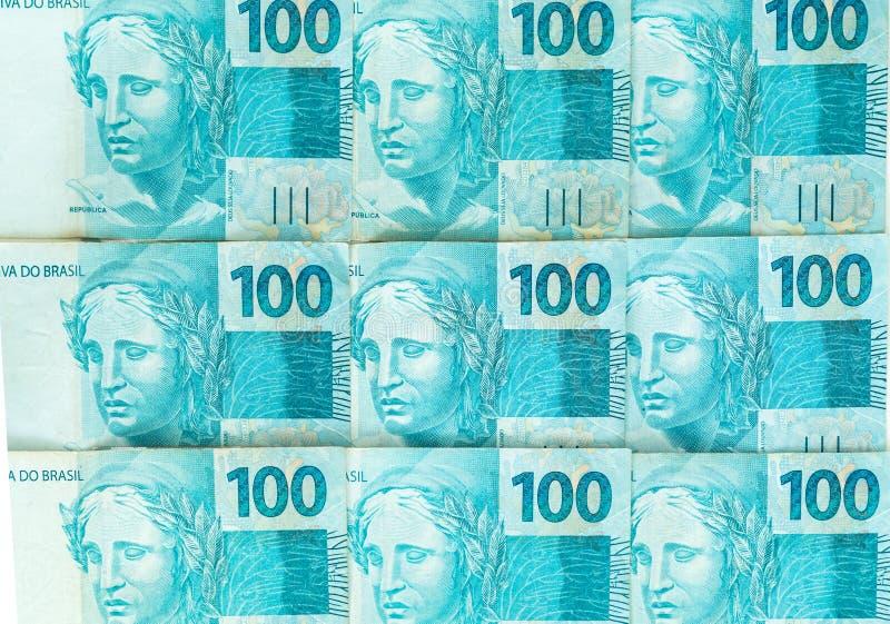 Braziliaans geld, reais, hoge benamingen, bedrijfsconcept royalty-vrije stock afbeelding