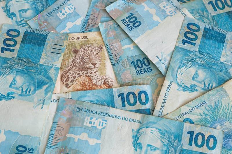 Braziliaans geld, reais, hoge nominaal, succesconcept stock foto