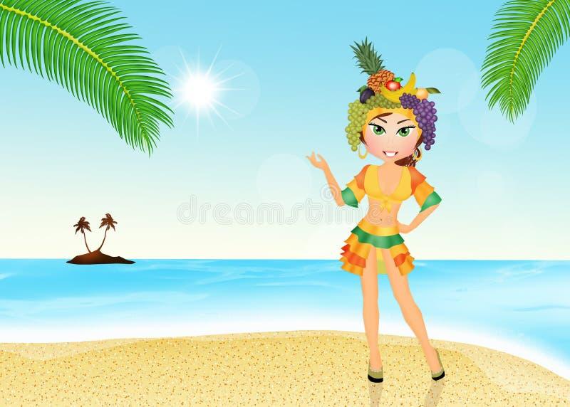 Braziliaans meisje op het strand royalty-vrije illustratie
