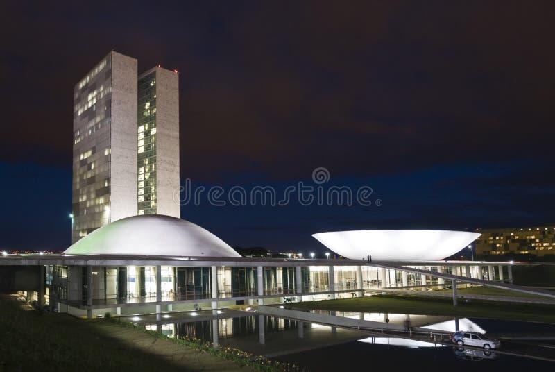 Braziliaans Nationaal Congres bij nacht royalty-vrije stock foto's