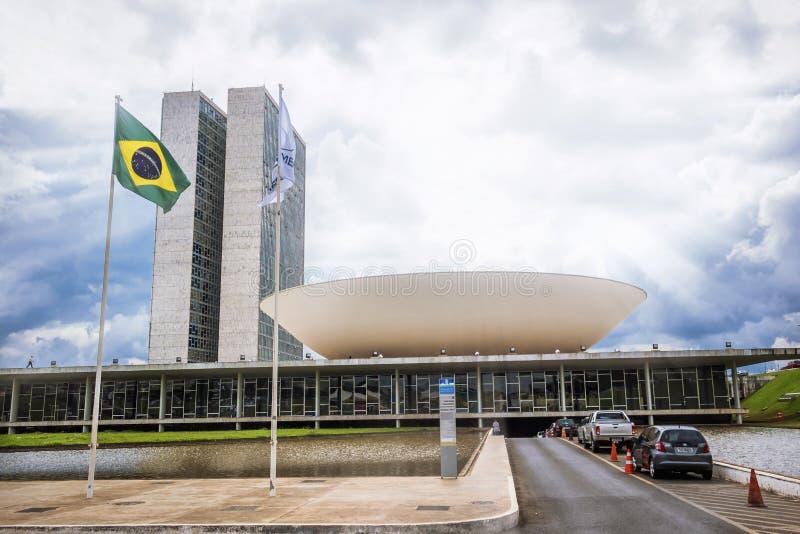 Braziliaans Nationaal Congres in Brasilia, Brazilië stock foto's
