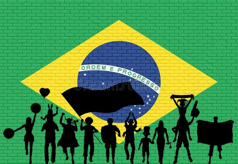 Braziliaans verdedigerssilhouet voor bakstenen muur met Brazi stock illustratie