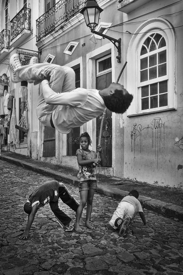 Braziliaanse capoeira, Pelourinho, Salvador, Bahia, Brazilië royalty-vrije stock afbeeldingen