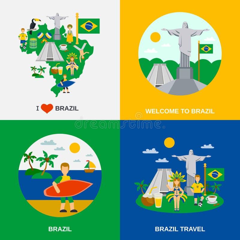 Braziliaanse Cultuur 4 Vlak Pictogrammenvierkant royalty-vrije illustratie