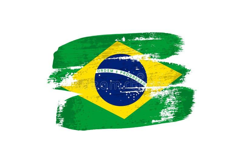 Braziliaanse die vlag met kwaststreken wordt geschilderd Vectordiegrungevlag van Brazilië op witte achtergrond wordt geïsoleerd stock illustratie