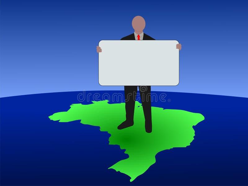 Braziliaanse mens met teken op kaart royalty-vrije illustratie