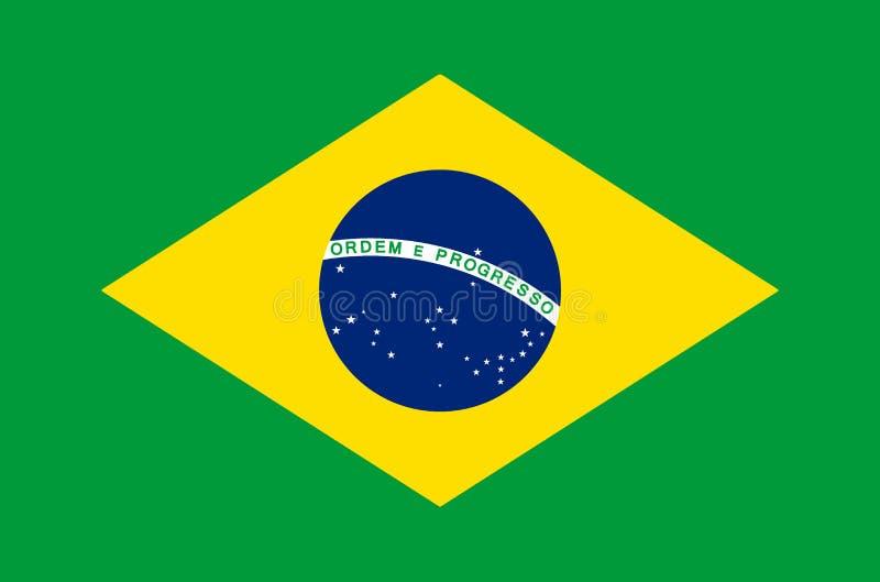 Braziliaanse nationale vlag in nauwkeurige kleuren, officiële vlag van Brazilië in nauwkeurige kleuren vector illustratie
