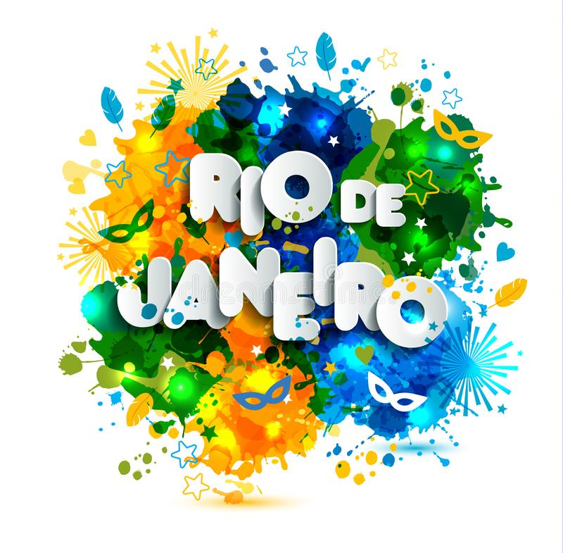 Braziliaanse vlag, Brazilië Carnaval, waterverfverven De zomer, hand getrokken inktkleur Document stijl vector illustratie