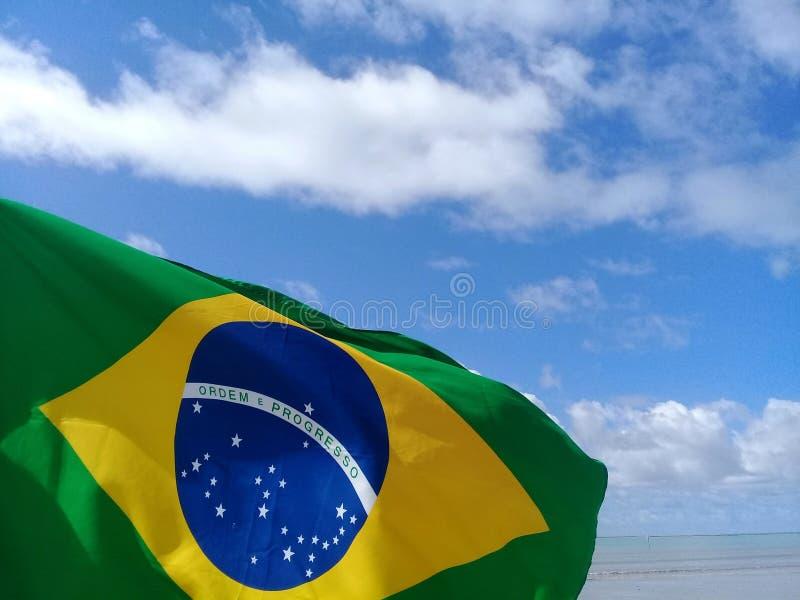 Braziliaanse vlag die op het strand fladderen stock foto's