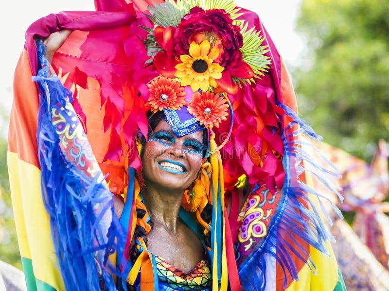 Braziliaanse Vrouw in Rio Carnaval, Rio de Janeiro, Brazilië stock foto's