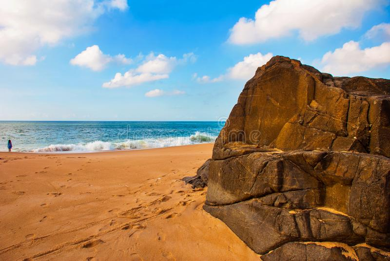 Brazilian beach with yellow sand and blue sea in Sunny weather. Brazil. Salvador. South America royalty free stock photography