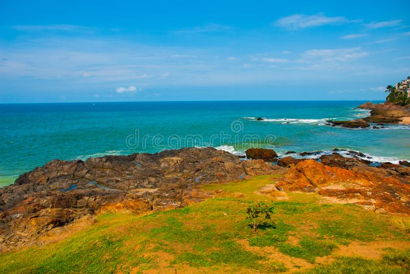 Brazilian beach with yellow sand and blue sea in Sunny weather. Brazil. Salvador. South America stock images