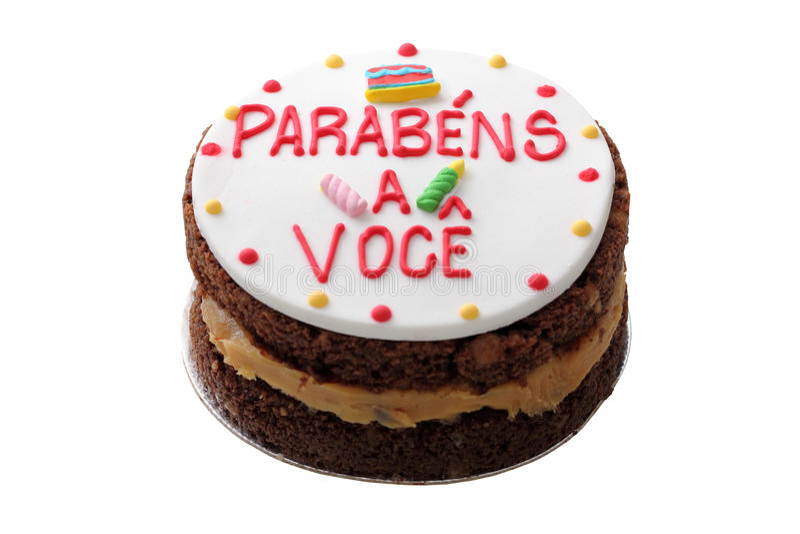 Brazilian birthday cake. Isolated on white background royalty free stock image