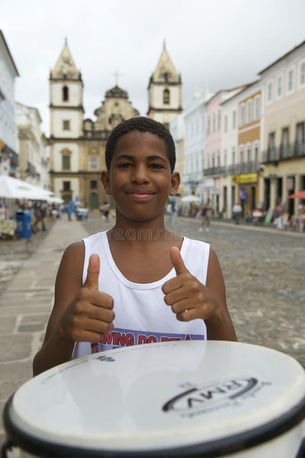 Brazilian Boy Standing Drumming Pelourinho Salvador Editorial Stock Image