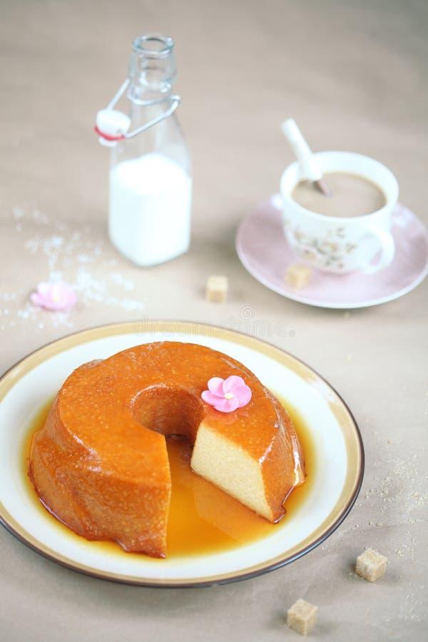 Brazilian Caramel Coconut Tapioca Pudding stock photos