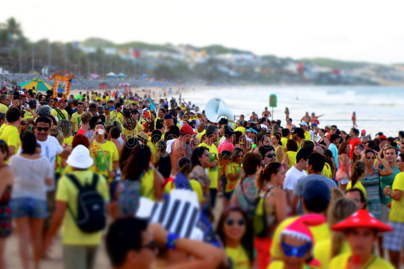 Brazilian Carnival. Beach Carnival in Northeast Brazil with a band of Frevo, traditional local rhythm royalty free stock photography