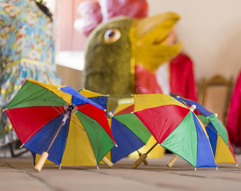 Brazilian Carnival Decoration. Little colorful umbrellas used by Frevo Dancers during their performance of Frevo Dance in Olinda and Recife in Pernambuco, Brazil stock photos
