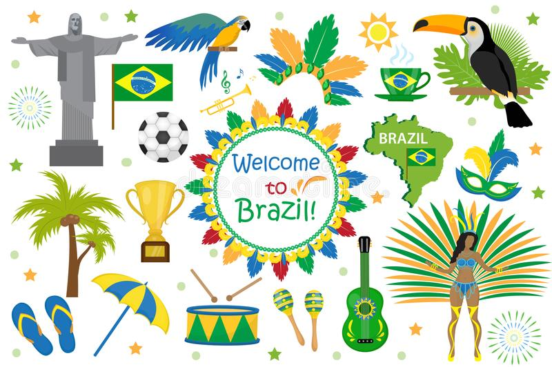 Brazilian carnival icons flat style. Brazil country travel tourism. Collection of design elements, culture symbols with. Toucan, parrot, rio de jeneiro monument royalty free illustration