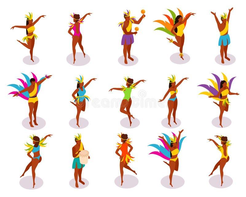 Brazilian Carnival Isometric People vector illustration
