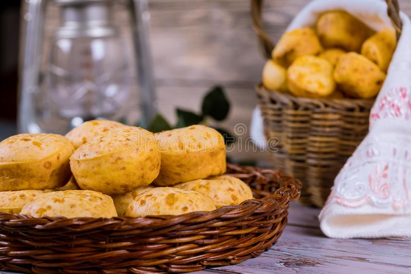 Brazilian cheese bread, chipa in basket. On table, mineiro, appetizer, south, america, chipacitos, tapioca, food, baked, bun, lunch, cuisine, gourmet, meal royalty free stock images