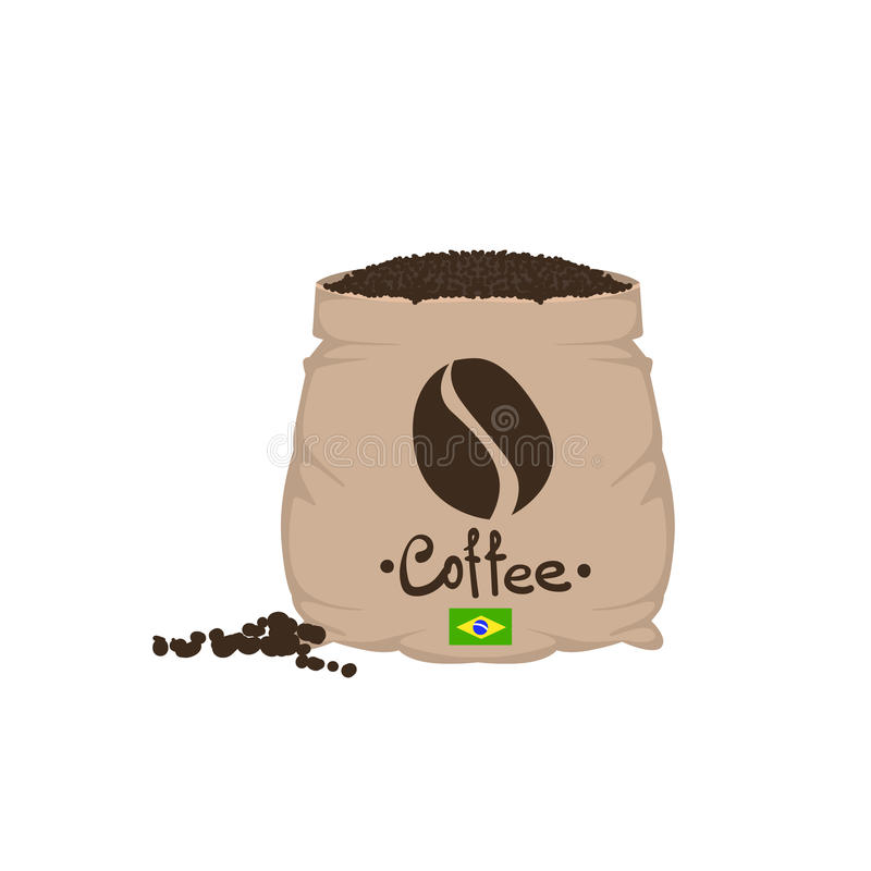 Brazilian Coffee Beans In A Sack. Flat Colorful Vector Design Illustration On White Background stock illustration