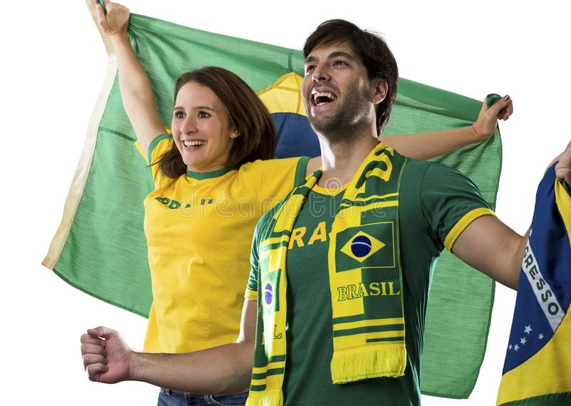 Brazilian couple Celebrating on a white background . royalty free stock photo