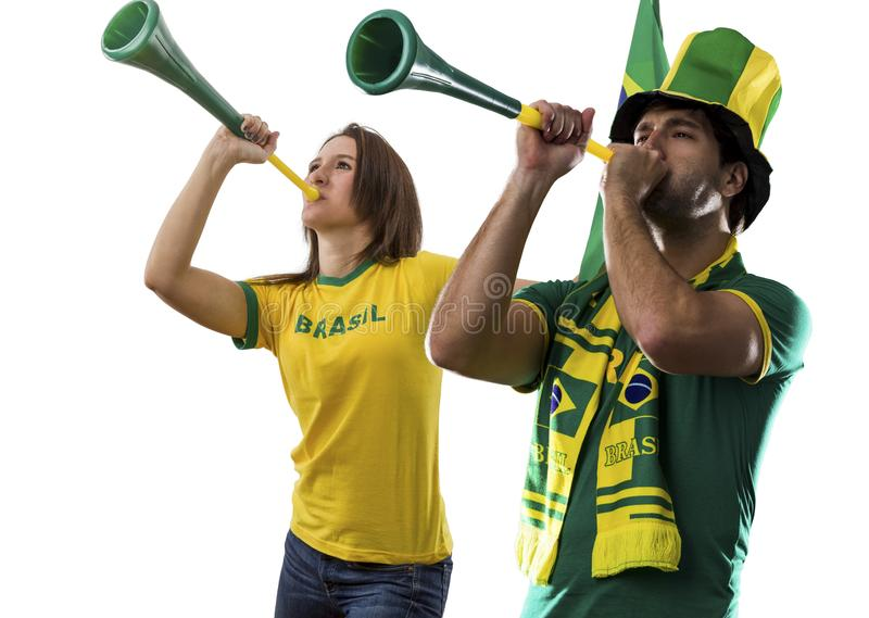 Brazilian couple Celebrating on a white background . stock photos