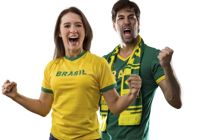 Brazilian couple Celebrating on a white background . royalty free stock photos