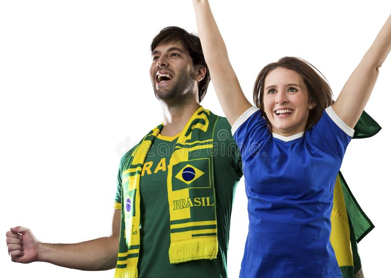 Brazilian couple Celebrating on a white background . stock photo