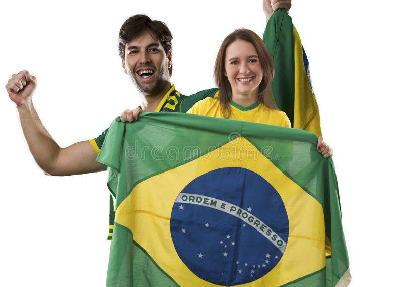 Brazilian couple Celebrating on a white background . royalty free stock images