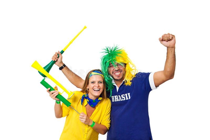 Brazilian couple supporters royalty free stock photos