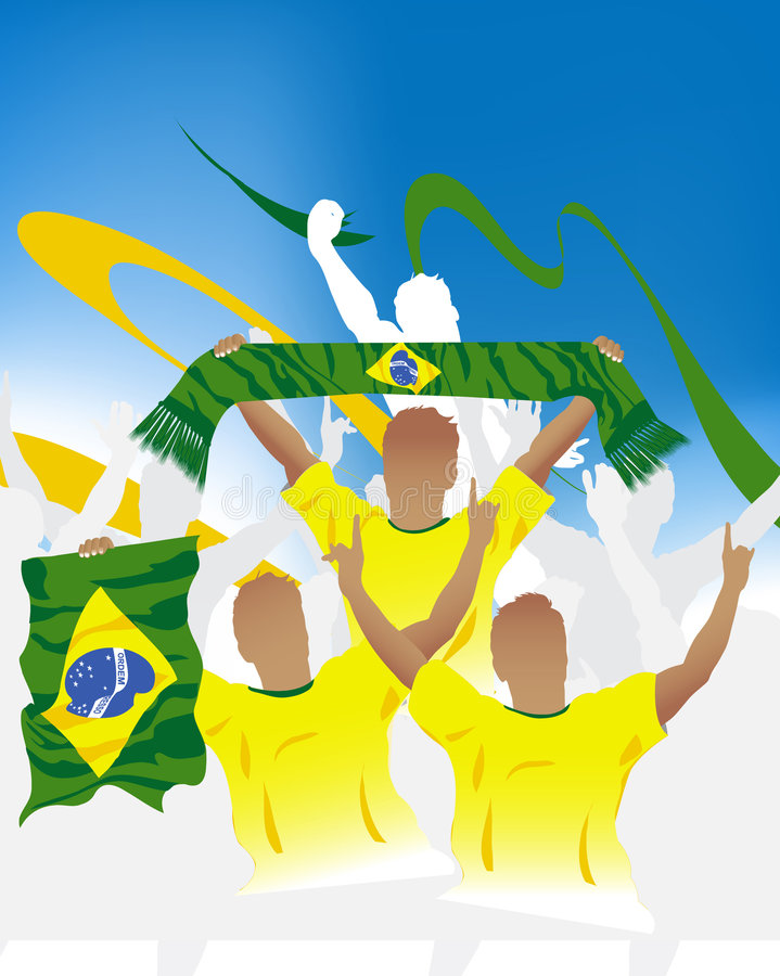 Download Brazilian crowd stock vector. Image of asia, champions - 6616588