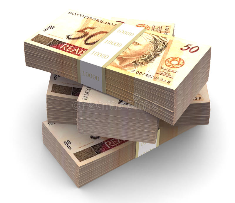 Brazilian currency pack (with clipping path). Brazilian currency bills packs on stack. Clipping path included