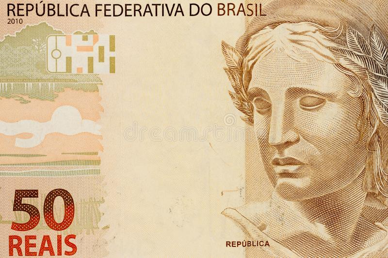 Brazilian currency: Real. Detail close up shot stock photo