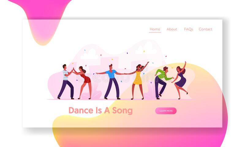 Brazilian Dance Club Party or Carnival Website Landing Page. Salsa Dancers in Colorful Costumes Having Fun stock illustration