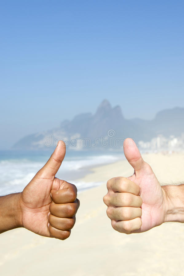 Brazilian Diversity Thumbs Up Cariocas Ipanema Beach Rio stock photo