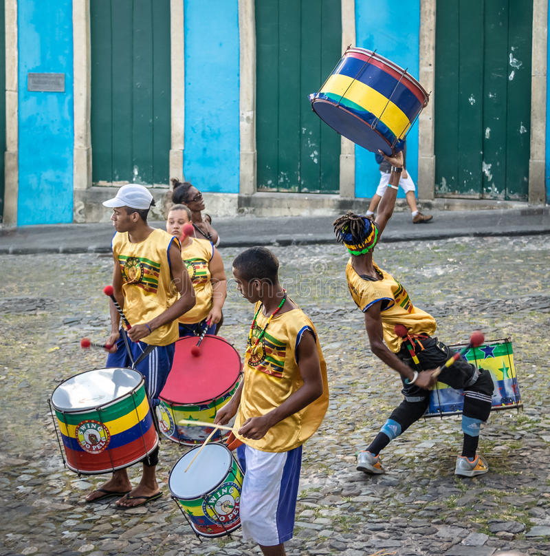 Brazilian drumming group on the streets of Pelourinho - Salvador, Bahia, Brazil stock photography