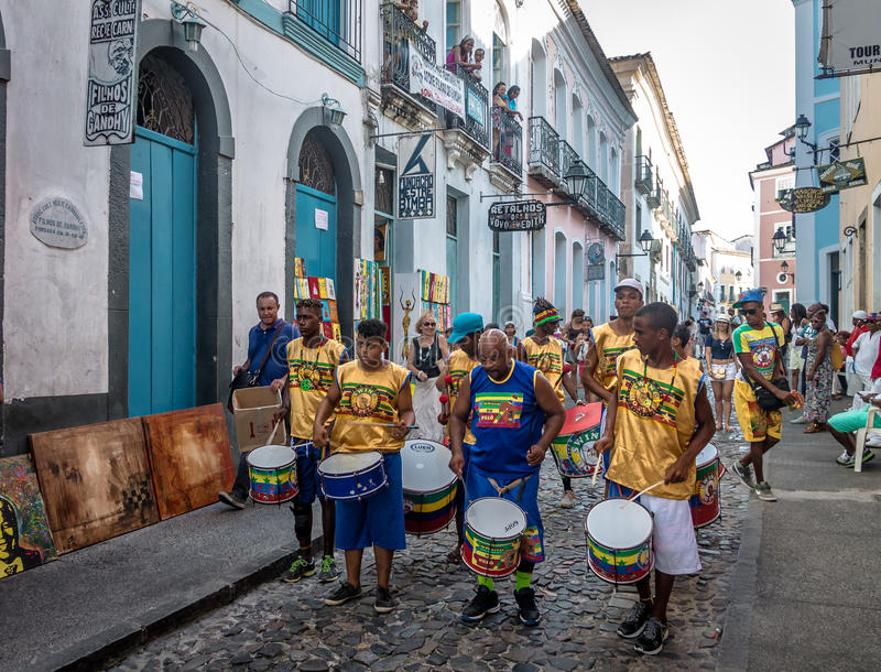 Brazilian drumming group on the streets of Pelourinho - Salvador, Bahia, Brazil. SALVADOR, BRAZIL - Nov 15, 2015: Brazilian drumming group on the streets of stock image